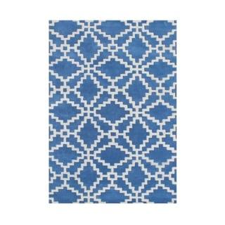 Alliyah Handmade Patriot Blue, and Vanilla Wool Rug (5' x 8')