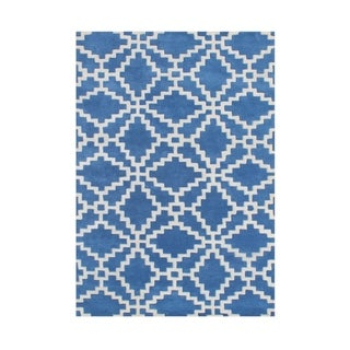 Alliyah Handmade Patriot Blue Wool Rug (8' x 10')