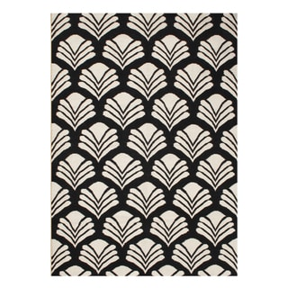 Alliyah Handmade Black New Zeland Blend Wool Rug (5' x 8')
