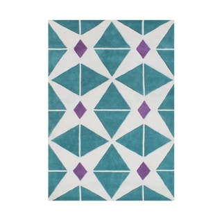 Alliyah Handmade Sea Blue Wool Rug (5' x 8')