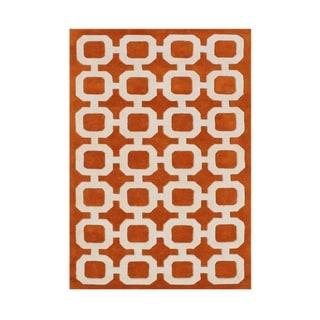 Alliyah Handmade Coral Rose Wool Rug (5' x 8')