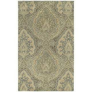 St. Joseph Sage Damask Hand-tufted Wool Rug (2' x 3')