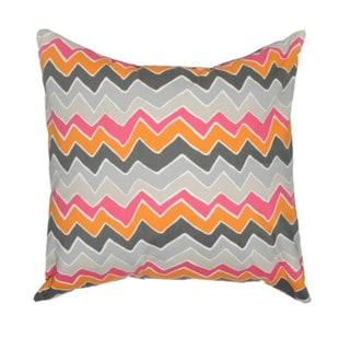 Mandarin/Pink Chevron Zippered Pillow Cover with 20-inch Feather Down Insert