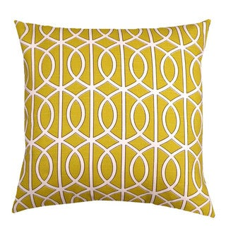 Mustard Yellow Trellis Chain 20-inch Decorative Down Pillow Pillow