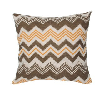 Bohemian Chevron Orange/ Grey 20-inch Decorative Down Fill Pillow