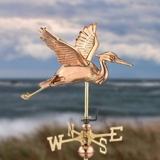 Blue Heron Garden Weathervane in Polished Copper