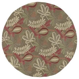 Round Fiesta Aloha Chocolate Leaves Rug (5'9 x 5'9)