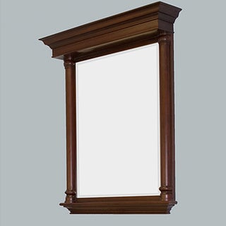 Bold Dark Cherry Finish Wood Framed Rectangle Mirror With Shelf 3 39 6 X 3 39 Overstock Shopping