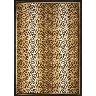 Black/ Tan Leopard Woven Area Rug (5'2 x 7'4)