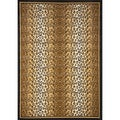 Black/ Tan Leopard Print Area Rug (5'2 x 7'4)