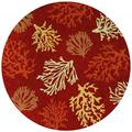 Hand Hooked Outdoor Escape Sea Reef Terra Cotta Round Rug (7'10)