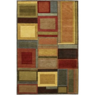 Hand Knotted Pokhara Iridescent Blocks Multi Color Rug (5'6 x 8)
