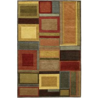 Hand Knotted Pokhara Iridescent Blocks Multi Color Rug (8' x 11')