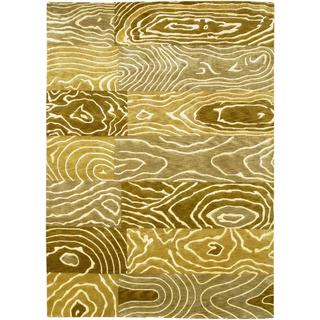 Hand Knotted Pokhara Wood Grain Gold/ Beige Rug (8' x 11')