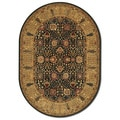 Royal Kashimar Cypress Garden Black/ Deep Maple Oval Rug (5'3 x 7'6)