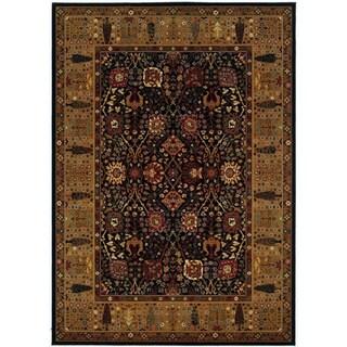 Royal Kashimar Cypress Garden Black/ Deep Maple Wool Rug (7'10 x 11'1)