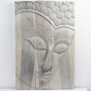 20 x 30-inch High Agate Grey Oil Buddha Ushnisha Panel (Thailand)