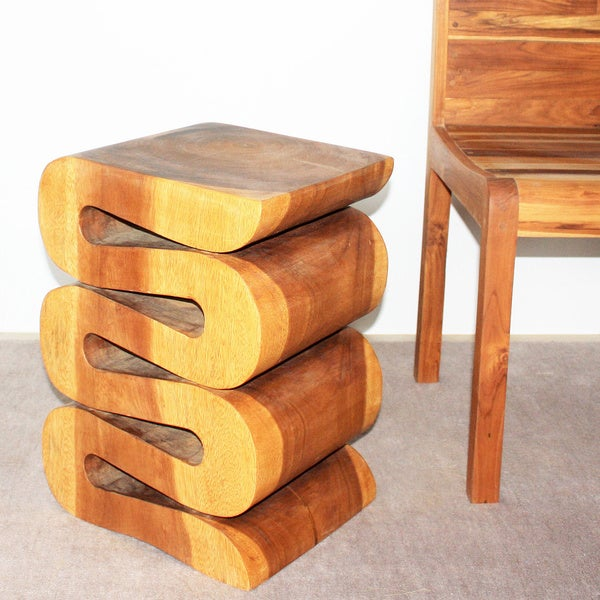 20 Inch High Oak Oil Wave Accent Table Thailand
