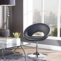 Modern Black Faux Leather Jet Chair