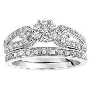 Cambridge Sterling Silver 1/2ct TDW High Polish Milgrain Diamond Bridal Set