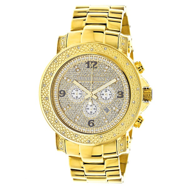 Luxurman Watches Mens Oversized Diamond Watch 0.5ct Yellow Gold