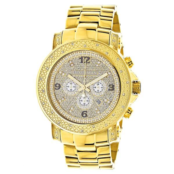 Luxurman Watches Mens Oversized Diamond Watch 0.5ct Yellow Gold