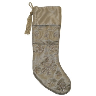 Silver Beaded Snowflakes Stocking (India)