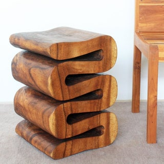 20 Inch High Walnut Oil Wave Accent Table Thailand