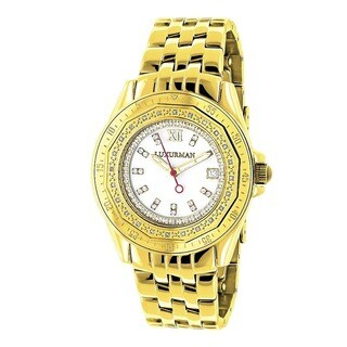 Luxurman Women's 1/4ct Diamond Yellow Gold Watch