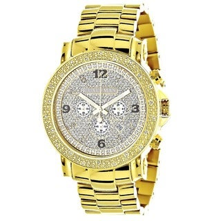 Luxurman Men's Oversized Yellow Goldplated Diamond Watch