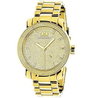 Luxurman Men's Gold-Tone Stainless Steel Diamond Watch
