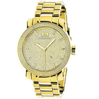 Luxurman Men's Gold-Tone Stainless Steel Diamond Watch