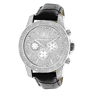 Luxurman Men's Freeze 0.5ct Diamond Black Leather Watch