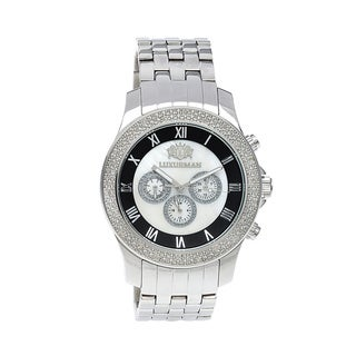 Luxurman Men's Stainless Steel Mother of Pearl Diamond Watch