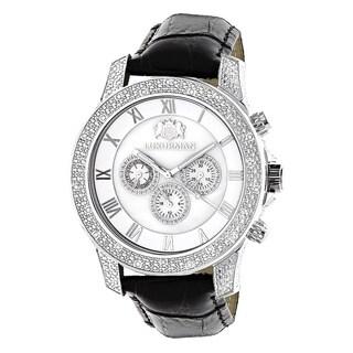 Luxurman Men's White Freeze 0.5ct Diamond Watch with Leather Strap Set