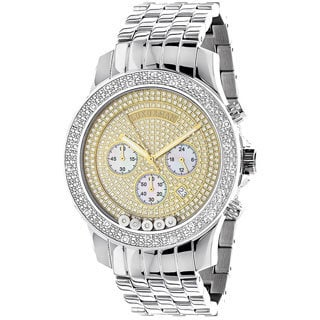 Luxurman Men's Stainless Steel Two-Tone Diamond Watch