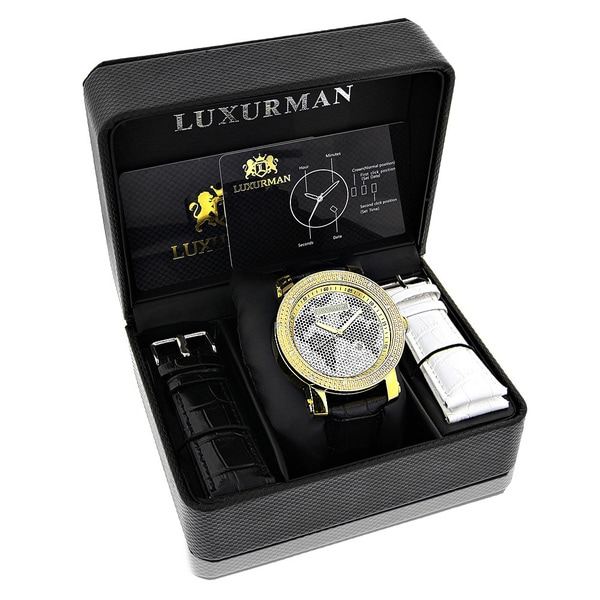 Luxurman Watches Worldface Mens VS Diamond Watch .18ct