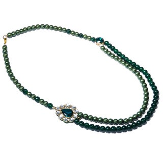 Kramasa Emerald Green Bead Kundan Double Strand Necklace (India)