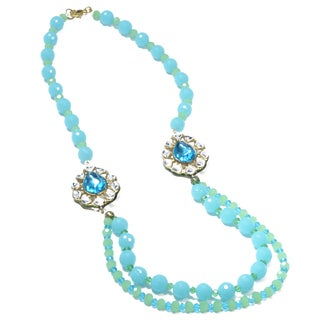 Kramasa Sky Blue Bead and Chalcedony Kundan Handmade Necklace (India)