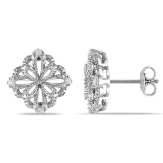M by Miadora Sterling Silver 1/10ct TDW Diamond Flower Earrings (H-I, I2-I3)