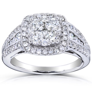 Annello 14k Gold 1ct TDW Multi Stone Cushion Diamond Ring (H-I, I1-I2)