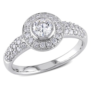 Miadora Signature Collection 14k White Gold 1ct TDW Bezel-set Halo Diamond Engagement Ring (G-H, I1-I2)