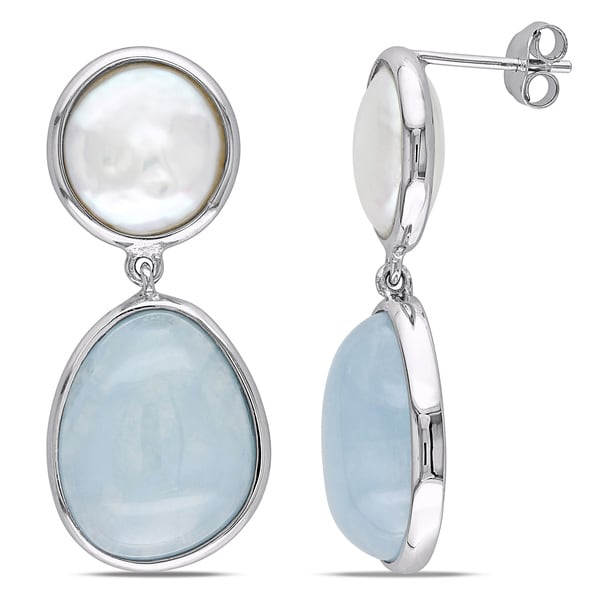 Miadora Sterling Silver Pearl and Aquamarine Earrings