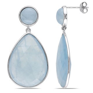 Miadora Sterling Silver Aquamarine Earrings