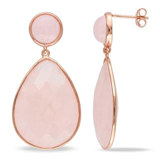 Miadora Rose Plated Silver Morganite Earrings