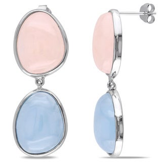 Miadora Sterling Silver Morganite and Aquamarine Earrings