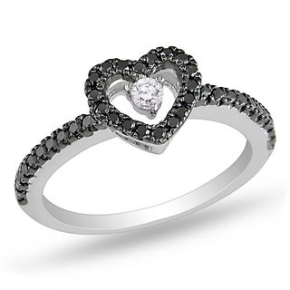 Miadora 14k Gold 1/4ct TDW Black and White Floating Diamond Heart Ring