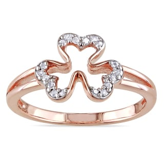 Miadora Rose Plated Silver 1/10ct TDW Diamond Heart Ring (H-I, I2-I3)