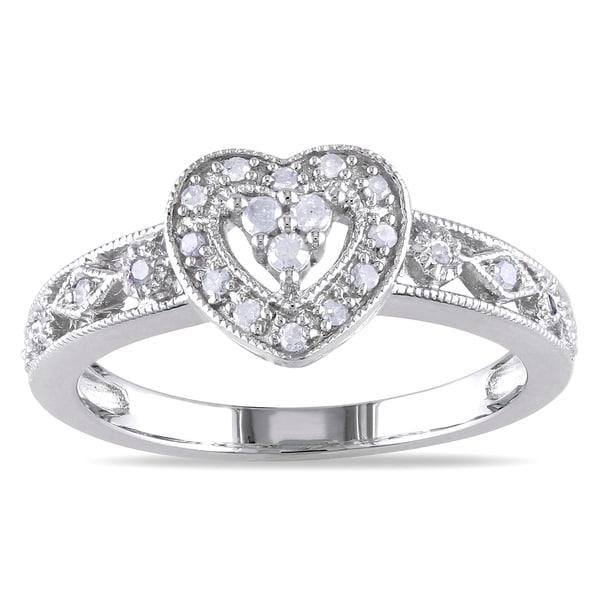 Miadora Sterling Silver 1/6ct TDW Diamond Heart Ring (I-J, I2-I3)