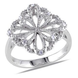 Miadora Sterling Silver 1/10ct TDW Diamond Flower Ring (I-J, I2-I3)
